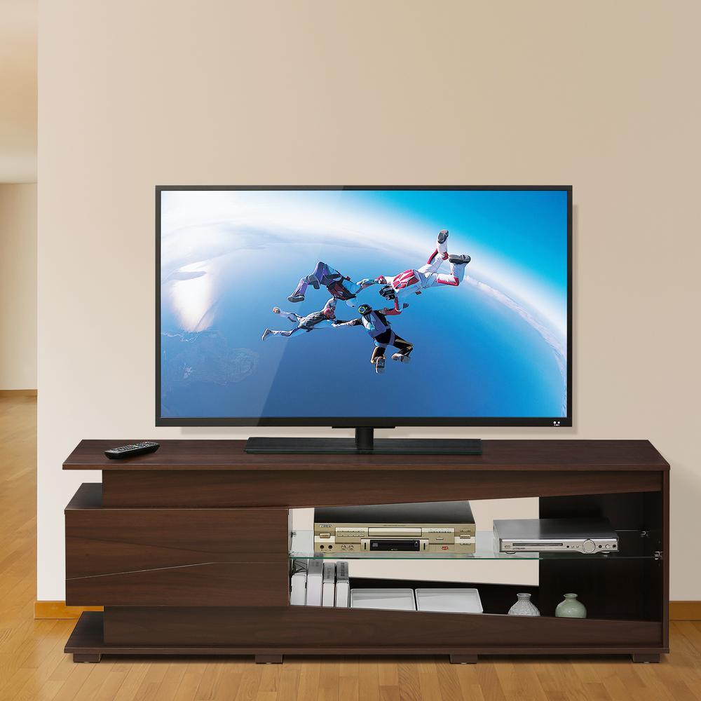 Furinno FVR walnut 1-Drawer and Glass Shelf Entertainment Center FVR7294WN