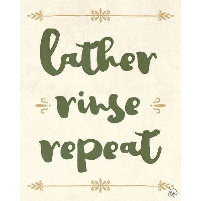 """11 in. x 14 in. """"Lather Rinse Repeat Green"""" Planked Wood Wall Art Print"""