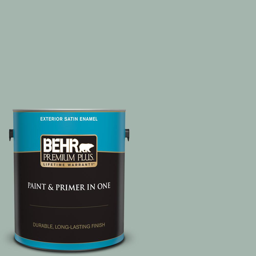 Behr Premium Plus 1 Gal 460e 3 Smokey Slate Satin Enamel Exterior Paint And Primer In One 940001 The Home Depot
