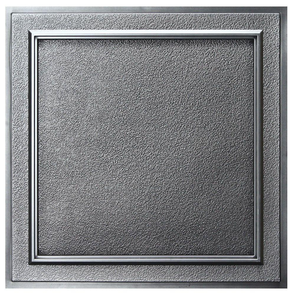 uDecor Belgium 2 ft. x 2 ft. Lay-in or Glue-up Ceiling Tile in Antique Nickel (40 sq. ft. / case)