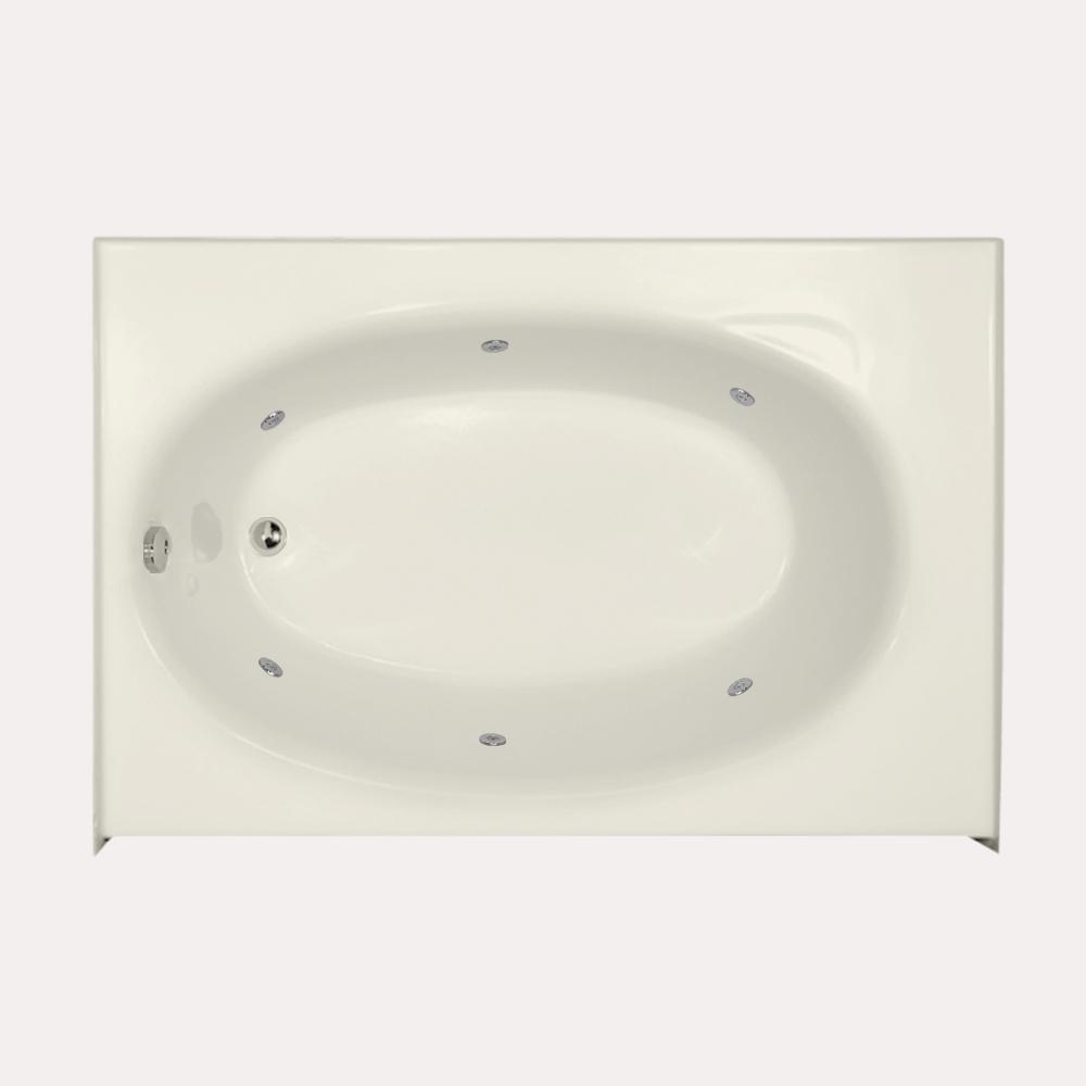 Kona 5 ft. Left Drain Alcove Rectangular Whirlpool Bathtub in Biscuit