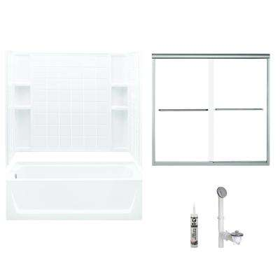 Ensemble 32 in. x 60 in. x 72 in. Bath and Shower Kit with Left-Hand Drain in White and Chrome
