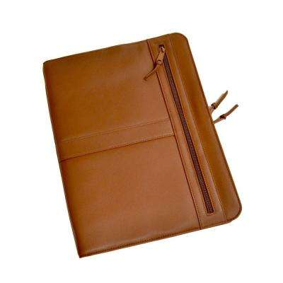 Tan Luxury Zip Around Writing Portfolio and iPad Tablet Organizer in Genuine Leather