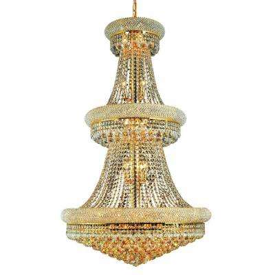 32-Light Gold Chandelier with Clear Crystal