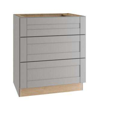 Veiled Gray Shaker Assembled Plywood 36 in. x 34.5 in. x 24 in. Base Drawer Kitchen Cabinet with Soft Close