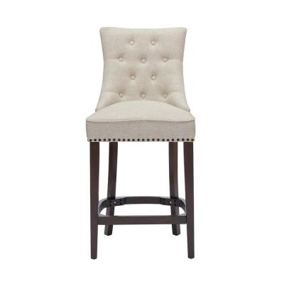 Bardell Upholstered Tufted Counter Stool with Biscuit Beige Seat and Nailheads (20 in. W x 41.93 in. H)