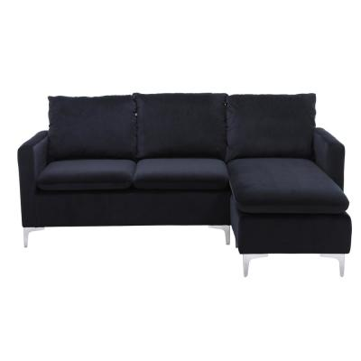 Boyel Living Velvet 3-Seater L-Shaped Reversible Sectional Sofa