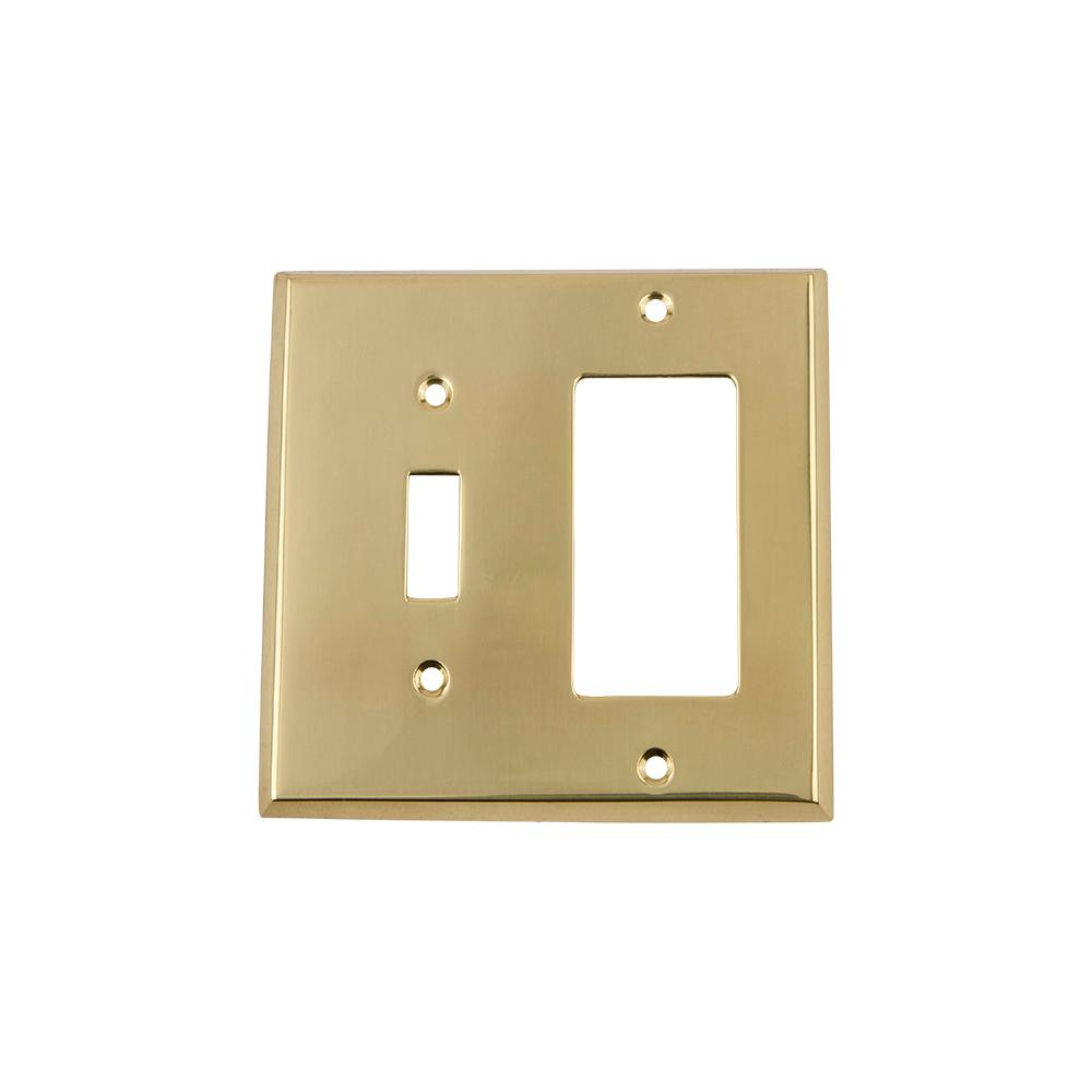 New York Switch Plate with Toggle and Rocker in Polished Brass