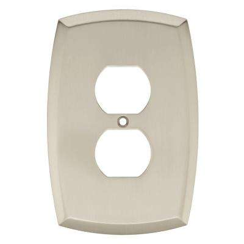 Mandara Decorative Single Duplex Outlet Cover, Brushed Nickel
