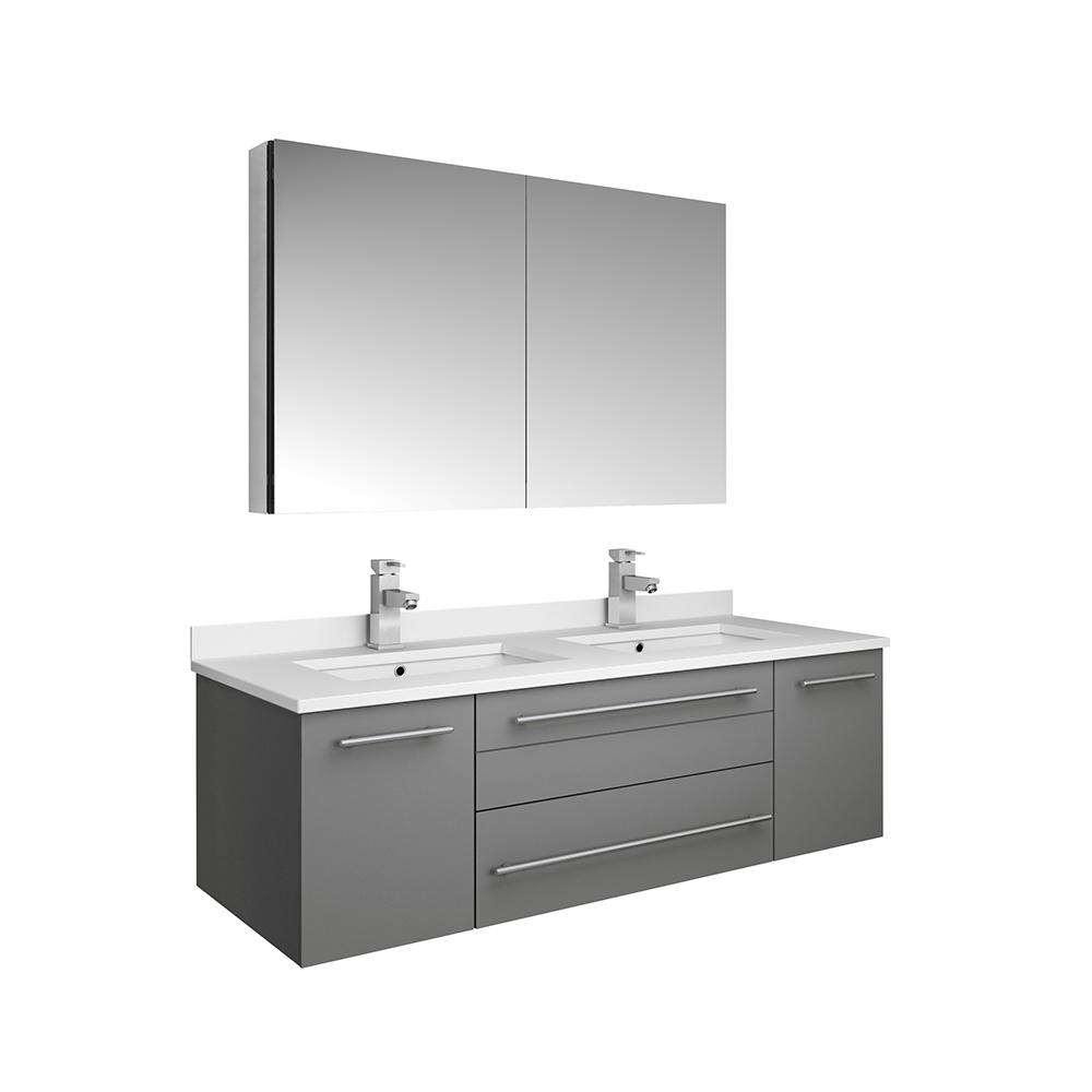 Fresca Lucera 48 In W Wall Hung Vanity Gray With Quartz Double Sink Top White Basins Medicine Cabinet