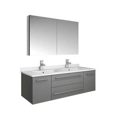 Lucera 48 in. W Wall Hung Vanity in Gray with Quartz Double Sink Vanity Top in White with White Basins, Medicine Cabinet
