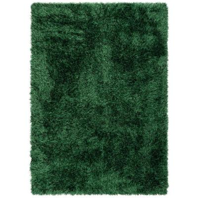 Kuki Chie Glam Solid Textured Ultra-Soft Green 5 ft. 3 in. x 7 ft. 3 in. 2-Tone Shag Area Rug