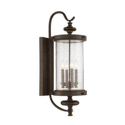 Elijah 4-Light Outdoor Walnut Patina Wall Mount Sconce