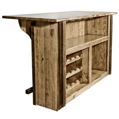 Homestead Collection Early American Wooden Bar with Wine Rack and Stemware Holder