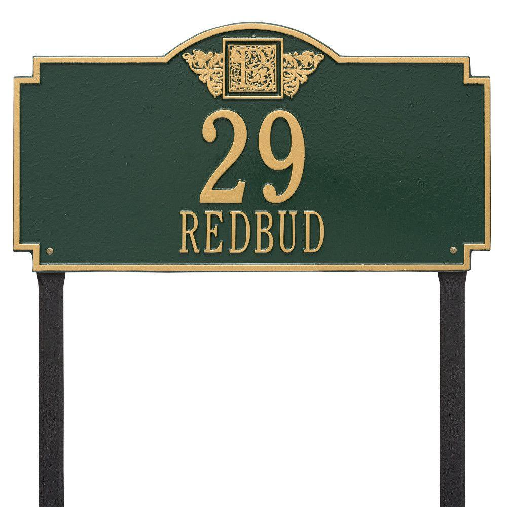 Whitehall Products Monogram Estate Lawn Rectangular Green/Gold 2-Line Address Plaque