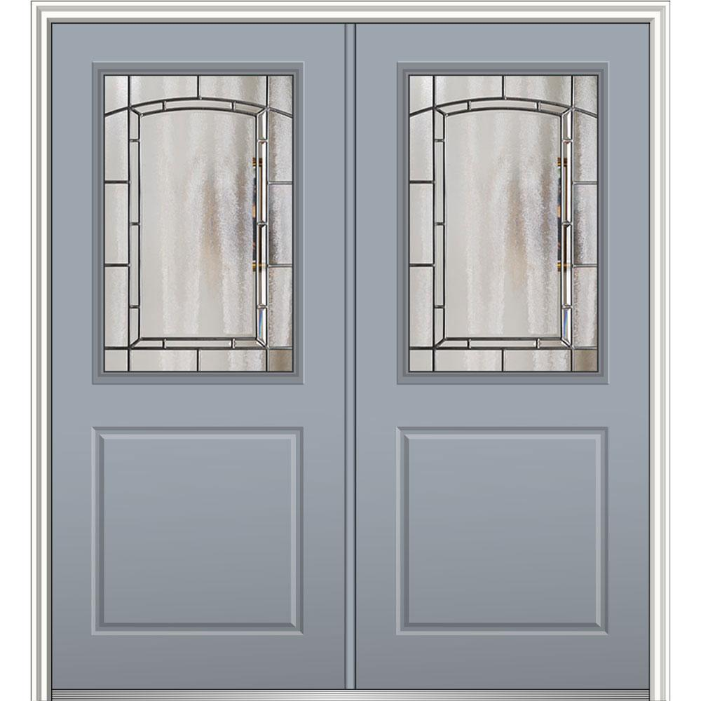 Mmi door 72 in x 80 in solstice glass right hand 1 2 for Prehung exterior doors with storm door