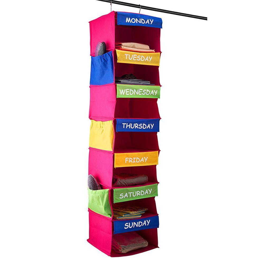 50 in. H x 12 in. W x 12 in. D Multi-Colored  Fabric 7-Cube Storage Organizer