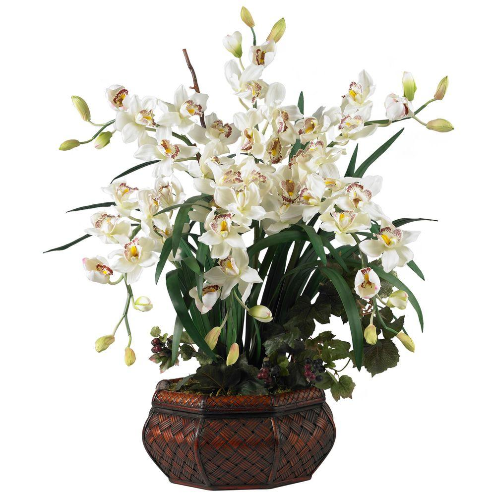 null 36 in. H White Large Cymbidium Silk Flower Arrangement