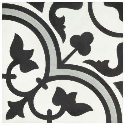 Cemento Arte Slate Encaustic 7-7/8 in. x 7-7/8 in. Cement Handmade Floor and Wall Tile