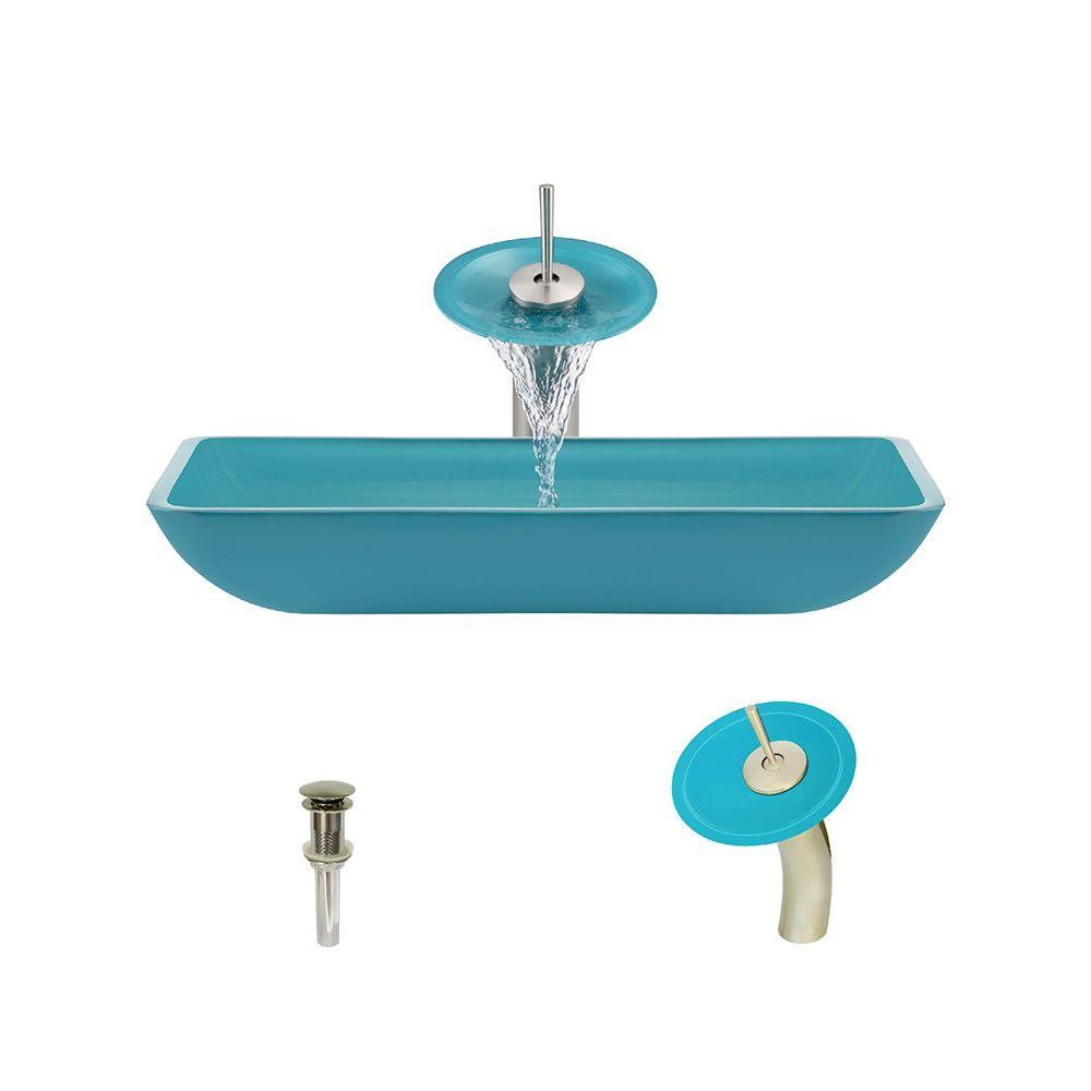Glass Vessel Sink in Turquoise with Waterfall Faucet and Pop-Up Drain