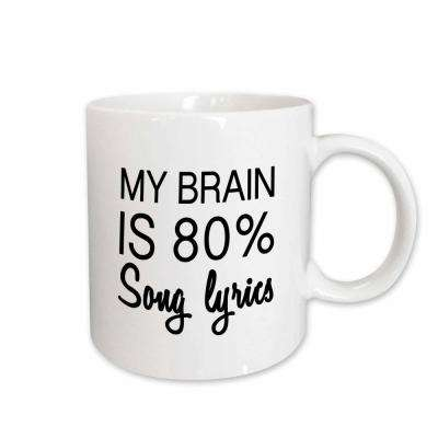 Tory Anne Collections Quotes MY BRAIN IS 80 PERCENT SONG LYRICS 11 oz. White Ceramic Coffee Mug