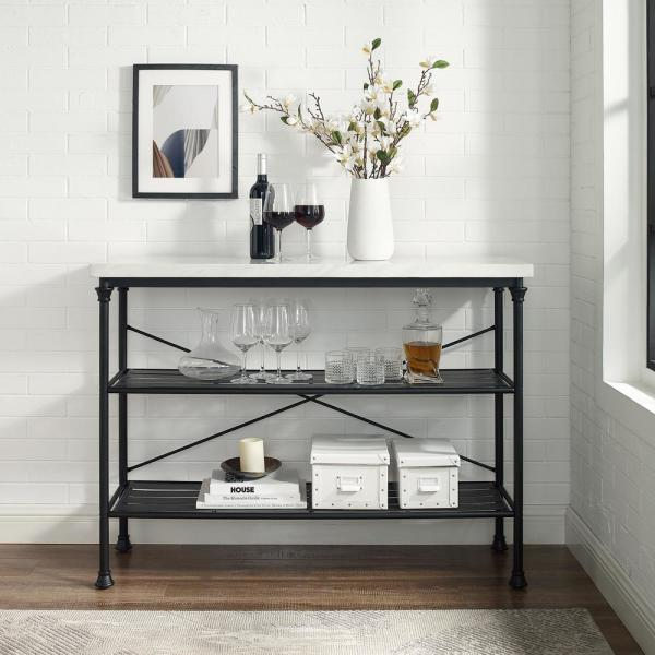 Crosley Furniture Madeleine 48 In Matte Black Standard Rectangle Composite Console Table With Storage Cf6130 Mb The Home Depot