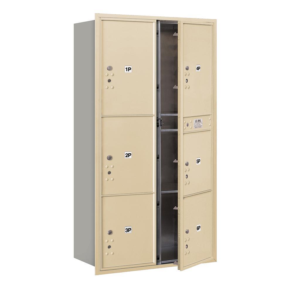 3700 Horizontal Series 6-Parcel Locker Recessed Mount Mailbox