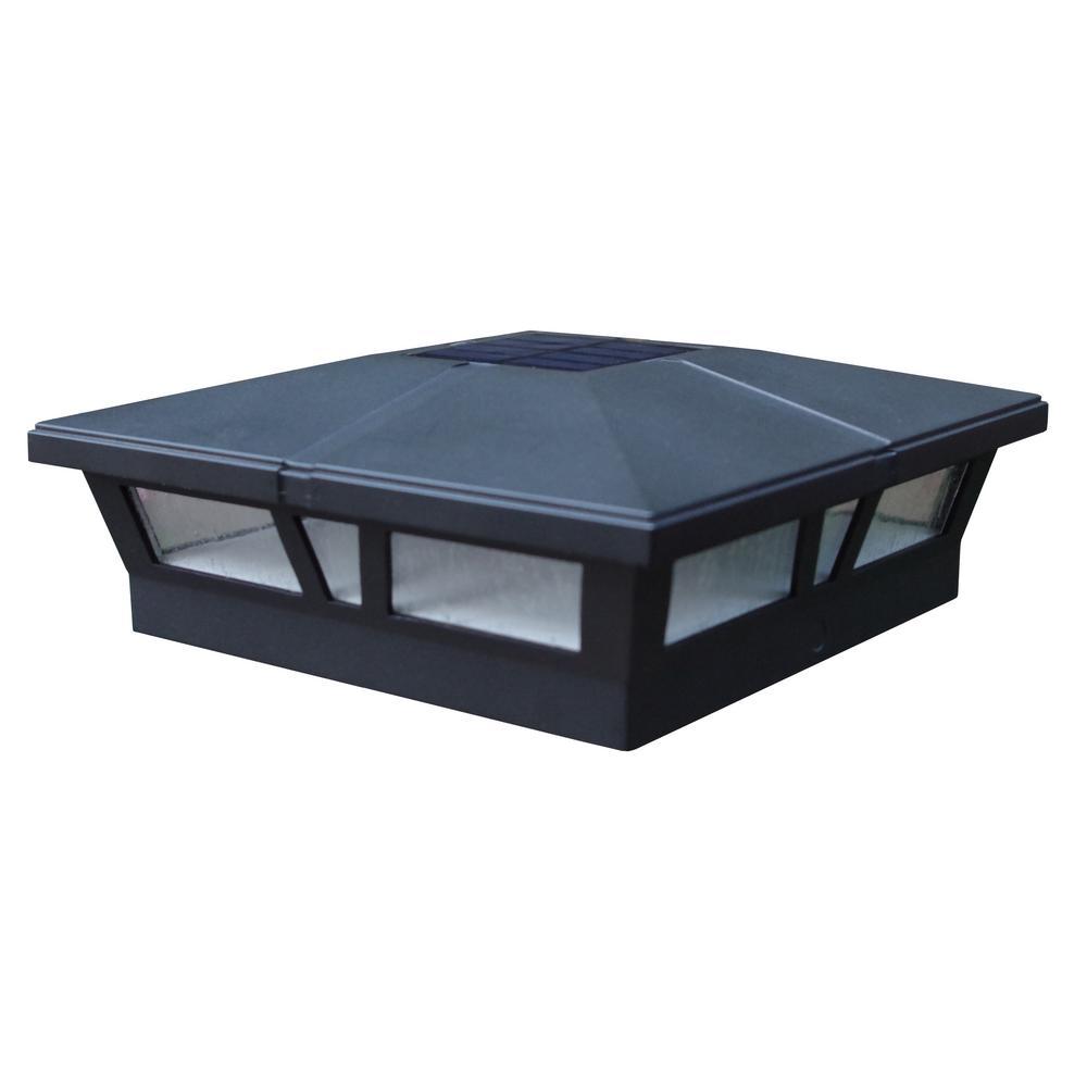 Black Integrated LED Solar Post Deck Cap 6x6 Aluminum Cambridge (2 Pack)