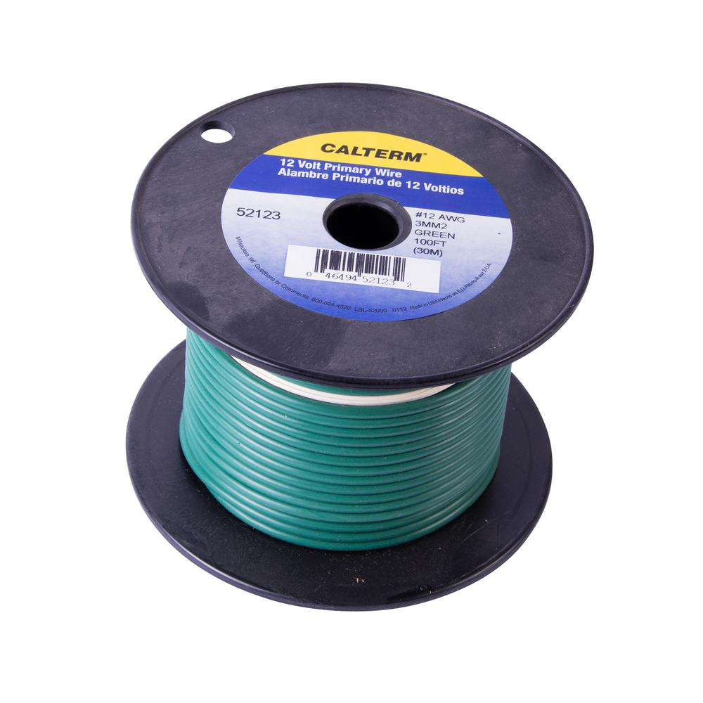 100 ft. 12 AWG Primary Wire Spool, Green (Case of 5)