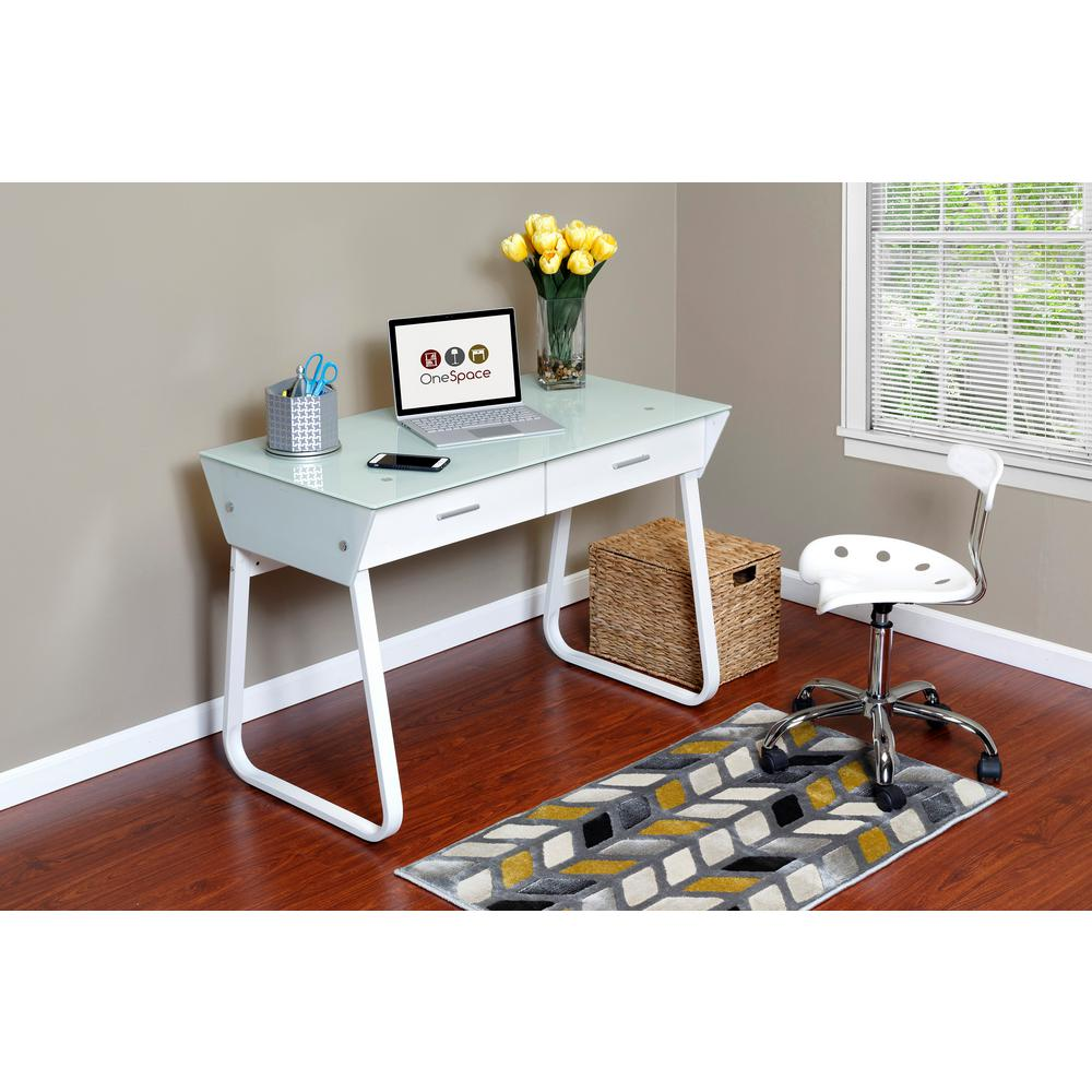 Onespace White Ultramodern Glass Computer Desk With Drawers