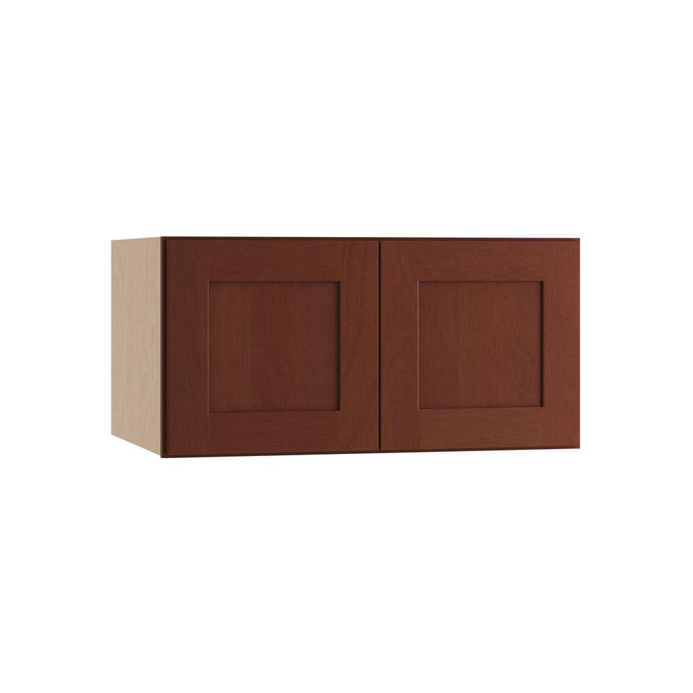 Kingsbridge Assembled 30x12x24 in. Double Door Wall Kitchen Cabinet in Cabernet