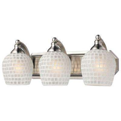 3-Light Satin Nickel Vanity Light with White Mosaic Glass