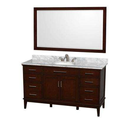 Hatton 60 in. Vanity in Dark Chestnut with Marble Vanity Top in Carrara White, Oval Sink and 56 in. Mirror