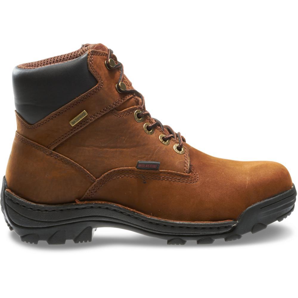 Men's Durbin Size 10.5M Brown Nubuck Leather Waterproof Steel 6 in. Work Boot