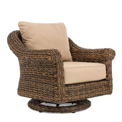 Cayman Heritage Brown Swivel Aluminum Outdoor Lounge Chair with Sunbrella Canvas Heather Beige Cushions