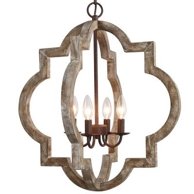 Modern Farmhouse Cage Chandelier Bronze 4-Light Island Candlestick Chandelier Rust Proof Weathered Wood Pendant Light