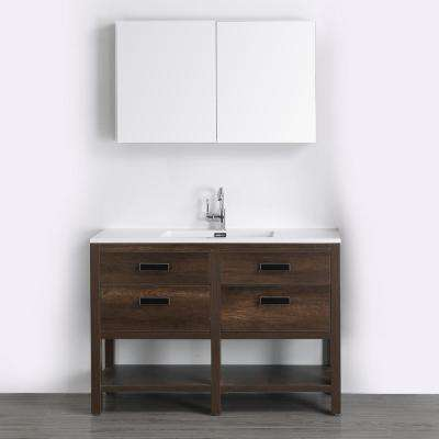 47.2 in. W x 32.3 in. H Bath Vanity in Brown with Resin Vanity Top in White with White Basin and Mirror