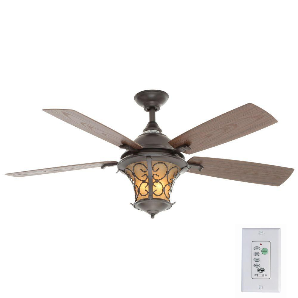 Hampton Bay Veranda II 52 in. Indoor/Outdoor Natural Iron Ceiling Fan with Light Kit and Remote Control