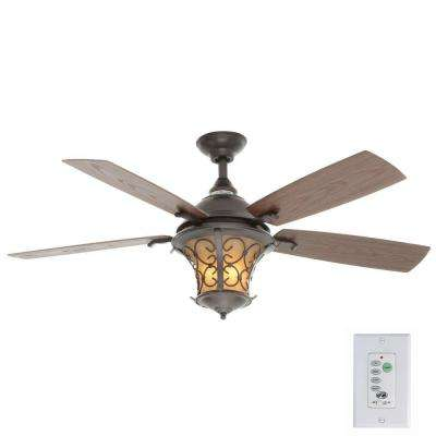 Veranda II 52 in. Indoor/Outdoor Natural Iron Ceiling Fan with Light Kit and Wall Control
