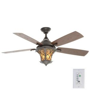Indoor Outdoor Natural Iron Ceiling Fan With Light Kit And Wall Control Al03 Ni The Home Depot