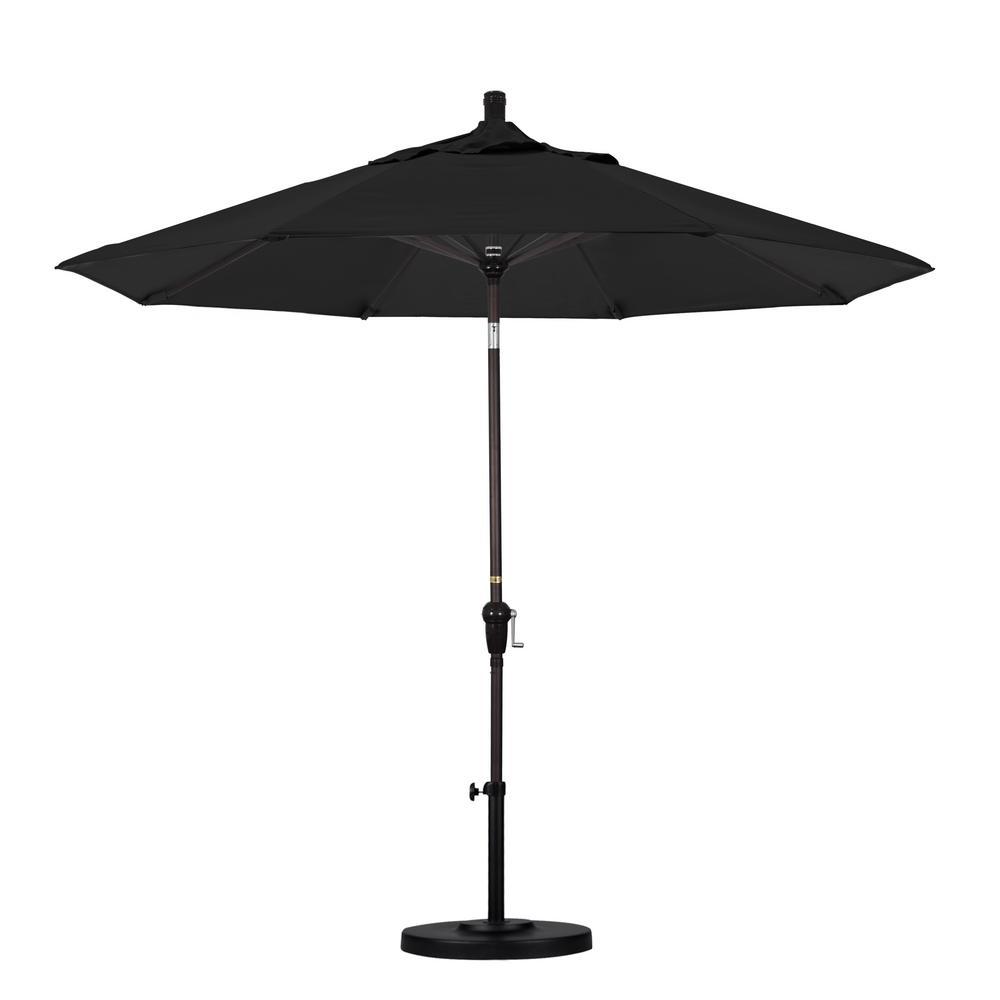 California Umbrella 9 ft. Bronze Aluminum Pole Market Aluminum Ribs Auto Tilt Crank Lift Patio Umbrella in Black Sunbrella
