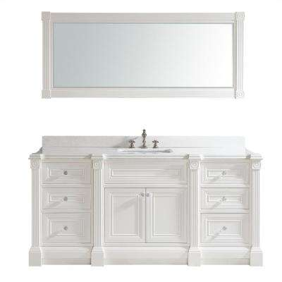 Avenue 72 in. W x 23 in. D Vanity in White with Engineered Solid Surface Vanity Top in White with White Basin and Mirror
