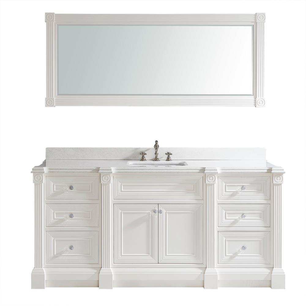 Studio Bathe Avenue 72 In. W X 23 In. D Vanity In White With