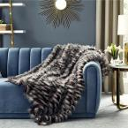 Pauline Dark Grey Throw Reverse Micromink Front: 80% Acrylic 20% Polyester, Back: 100% Polyester 50 in. x 60 in.