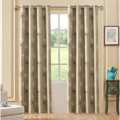 Crawford Beige Floral Print Polyester Curtain - 95 in. L x 54 in. W
