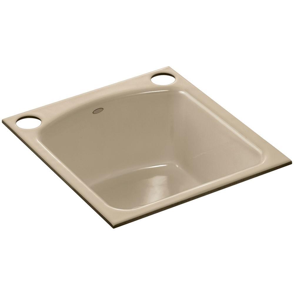 KOHLER Napa Undermount Cast-Iron 19 in. 2-Hole Single Basin Kitchen Sink in Mexican Sand