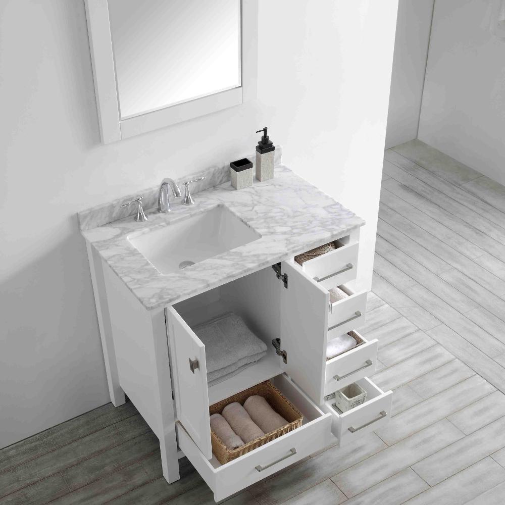 Aberdeen 36 in. W x 22 in. D x 35 in. H Vanity in White with Carrara Marble Vanity Top in White with White Basin