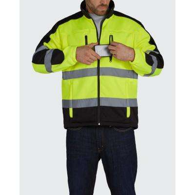 HI VISIBILITY FULL ZIP SOFT SHELL JACKET with TEFLON FABRIC PROTECTOR
