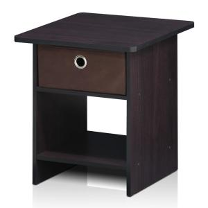 Furinno Home Living Bin Drawer Dark Walnut Nightstand DWN