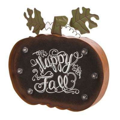 12.6 in. H Iron Marquee LED Chalkboard Pumpkin